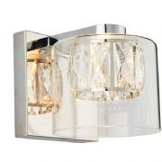Verina Wall Light in Polished Chrome with a Crystal and Glass Shade - ENDON 76521